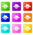 wild west cowboy hat icons set 9 color collection vector image vector image