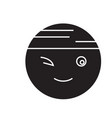winking chinese emoji black concept icon vector image vector image