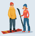 woman with ski and man on snowboard vector image