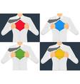 man ripping the shirt set vector image