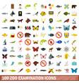 100 zoo examination icons set flat style vector image vector image