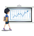 A successful businesswoman near the chart vector image vector image