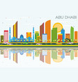 abu dhabi skyline with color buildings blue sky vector image