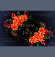 artistic flower wedding card design in dark theme vector image vector image