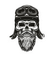 biker skull sketch in helmet and glasses vector image vector image