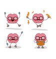 brain cartoon set with glasses and books and vector image vector image