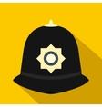 British police helmet icon flat style vector image vector image