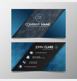 business card modern blue and black template vector image vector image