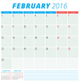Calendar 2016 flat design template February Week vector image vector image