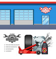 Car Service 2 Flat Banners Set vector image vector image