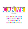 carve font and alphabet numbers and letters vector image