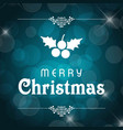 christmas greetings card with dark background and vector image