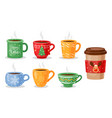 christmas tea cups coffee mug vector image vector image