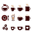 coffee color icons set - cappucino latte vector image