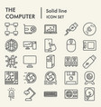 computer line icon set device symbols collection vector image
