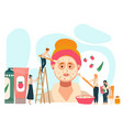 cosmetic product concept tiny people applying vector image vector image