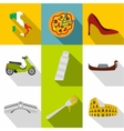Country Italy icons set flat style vector image