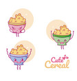 cute cereal bowl kawaii cartoon vector image vector image