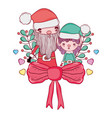 cute christmas santa claus with helper vector image