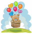 cute teddy bear with balloons vector image vector image
