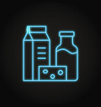 dairy products icon in glowing neon style vector image