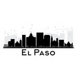 el paso city skyline black and white silhouette vector image vector image