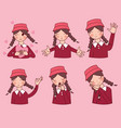 facial expressions set woman girl vector image vector image