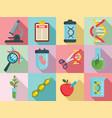 genetic engineering icons set flat style vector image vector image