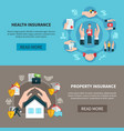 insurance property medical care banners vector image
