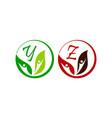 leaf health nutrition initial y z vector image vector image