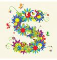 letter S floral design vector image vector image