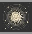 magic boho card sun heavenly tattoo for vector image vector image
