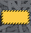 metal warning yellow sign plate with stripes vector image vector image