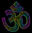 om symbol on black background vector image