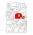 ornate elephant collection sketch for your design vector image