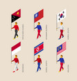 people with flags of asian countries vector image