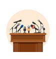 press conference podium tribune for debate vector image