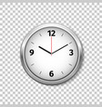 realistic classic silver round wall clock isolated vector image