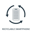 recyclable smartphone icon flat style icon design vector image vector image