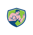Rugby Player Ball Fend Off Shield Retro vector image vector image