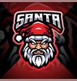 santa head esport mascot logo vector image