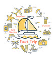sea yacht and summer vacation icons trip planning vector image