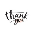 thank you handwritten ink pen lettering vector image