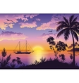 Tropical Sea Landscape with Palms and Ship vector image vector image