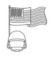 united state flag with military helmet black and vector image vector image