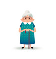 cartoon happy grandmother with a cane old woman vector image
