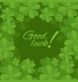 festive square frame with a happy four-leaf clover vector image