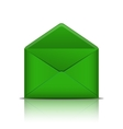 Green open envelope isolated on white background vector image