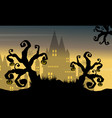 halloween background castle and tree vector image