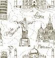 Seamless pattern of famous landmarks vector image